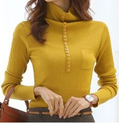 Stylish Turtleneck Long Sleeves Solid Color Single Breasted Sweater For Women