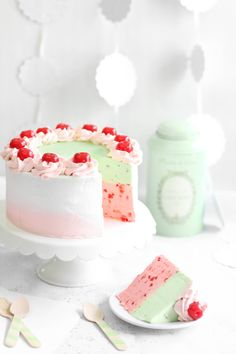 Spumoni Mousse Dessert from Sprinkle Bakes: LOVE the cherry-pistachio-vanilla pairing, the beautiful color palette, and who can complain about mousse? I really want to make this dessert this summer!