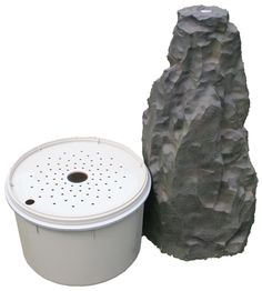 Features: -Includes water pump, basin, and fountain. -Color: Dark gray. -Weather resistant. Finish: -Dark gray. Material: -Manufactured wood. Style: -Modern. Fountain Design: -Column. Fountain