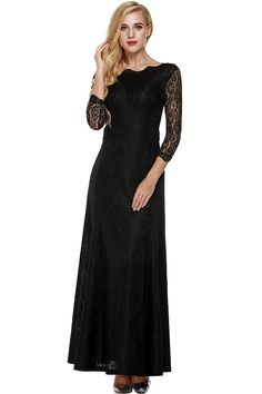 (This is an affiliate pin) ANGVNS Women's Retro Floral Lace 2/3 Sleeve Formal Evening Gowns Maxi Dress