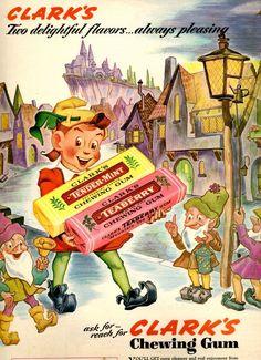 Clark's chewing gum - peter pan in fairy land Pub Vintage, Photo Vintage, Vintage Candy, Vintage Love, Vintage Signs, Retro Vintage, Vintage Advertising Posters, Old Advertisements, Vintage Posters