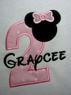 Personalized Minnie Mouse Second Birthday Number shirt for infants toddler or girls sizes. Light Pink Polka Dots. LONG SLEEVES. $20.00, via Etsy.