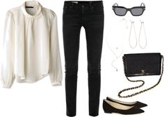 Outfit #202 by bittealt featuring a silk shirt ❤ liked on PolyvoreDace silk shirt / AG Adriano Goldschmied black jeans, $145 / Jimmy Choo black flat / Free People vintage jewelry / Dean Harris hoop earrings / CÉLINE celine sunglasses / Vintage bag CHANEL