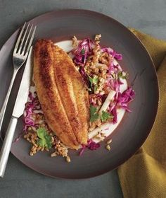 Catfish With Farro, Apple, and Cabbage Slaw recipe from realsimple.com #myplate #protein #vegetables