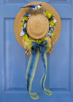 Straw Hat with Bird and Nest Spring Floral Door by welcomesbypj, $39.99