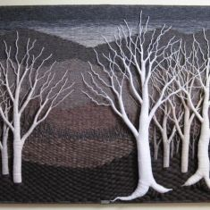 beautiful textile of trees Weaving Projects, Weaving Art, Tapestry Weaving, Loom Weaving, Hand Weaving, Felt Pictures, Tree Quilt, Textiles, Textile Fiber Art