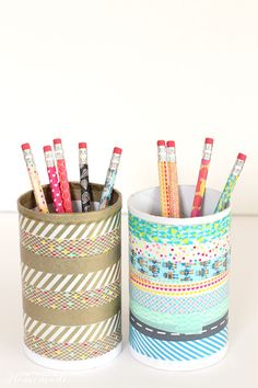 An empty salt container turned into a pretty pencil holder. | 19 Adorable Things That Will Actually Organize Your Desk