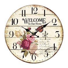 Relógio de parede floral país de 418215 2016 por €19.59