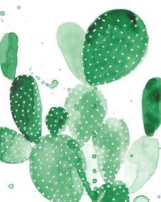 Green Paddle Cactus Art Print