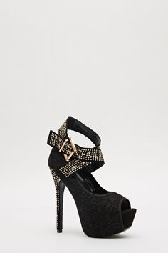 Lace & Studs Ankle Strap Heels