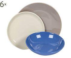 Servizio di piatti in gres blu, tortora e avorio - 18 pezzi