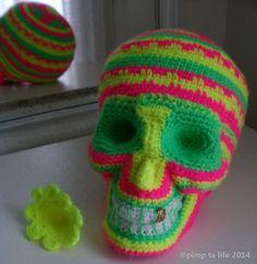 santa muerte sugar skull n°2 version fluo #crochet #halloween by : pimp ta life 2014