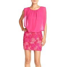 Aidan by Aidan Mattox Chiffon & Lace Blouson Dress (8440 RSD) ❤ liked on Polyvore featuring dresses, pink multi, lace pencil dress, floral dresses, sleeveless lace dress, pencil dress and floral print dress