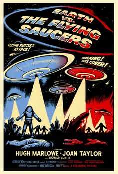 Earth vs. The Flying Saucers Classic Sci Fi Movies, Sci Fi Horror Movies, Sci Fi Films, Old Movie Posters, Classic Movie Posters, Cinema Video, Video Film, Film Science Fiction, Fiction Film