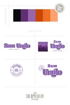 Brand identity design assets for Sam Unglo, inculding #colors, #logos, #fonts, #submarks, #pattern design, and #icons. Visit The Solopreneur Society today to eye-guzzle our full portfolio of brand identity suites and to learn how we can make you red carpet ready!
