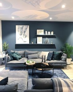 9 attractive living room wall decor ideas to copy asap 9 « Kitchen Design Navy Living Rooms, Blue Living Room Decor, Accent Walls In Living Room, Living Room Paint, Living Room Grey, Home Living Room, Interior Design Living Room, Living Room Designs, Living Room Inspiration