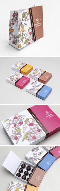 Kézműves Bonbon Package Design by Nóra Rohmann, via Behance PD. Seriously though, you can put dog poop in a fancy pretty package, and I'd think about buying it, for a nanosecond. And you need no packaging for chocolate. So, yeah...