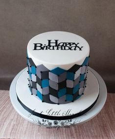 Celebration Cakes — Sweet Little Morsels, LLC Birthday Cake For Father, Blue Birthday Cakes, Husband Birthday, Birthday Ideas, Fondant Cakes, Cupcake Cakes, Masculine Cake, Cakes By Stephanie, Geometric Cake