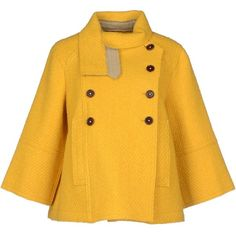 Jejia Coat ($125) ❤ liked on Polyvore featuring outerwear, coats, jackets, coats & jackets, cape, yellow, flannel coat, double breasted cape coat, yellow coat and double breasted coat
