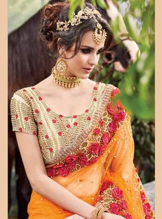 Buy online latest saree, finest collection of designer saree. Buy this net designer saree for bridal and wedding. Net Saree, Lehenga Choli, Anarkali, Sari Design, Saree Blouse Patterns, Saree Blouse Designs, Netted Blouse Designs, Saree Sale, Bollywood
