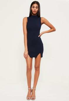 Navy High Neck Double Wrap Bodycon Dress - Missguided Missguided f841b673b