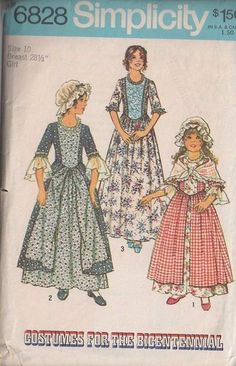 MOMSPatterns Vintage Sewing Patterns - Simplicity 6828 Vintage 70's Sewing Pattern Girls Costumes for the Bicentennial Colonial Day Dress, Overskirt, Formal or Daytime, Shawl & Cap Size 10