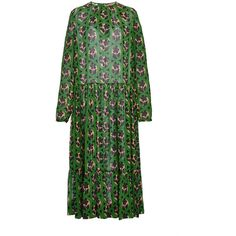 No. 21     Silk Printed Dress ($1,350) ❤ liked on Polyvore featuring dresses, ruched dress, long sleeve dress, ruched midi dress, green long sleeve dress and midi dress