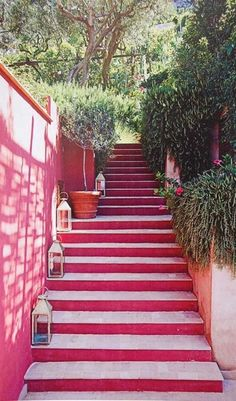 tickled pink by these stairs leading to one of the island's fabulous villas. (capri) #travelcolorfully