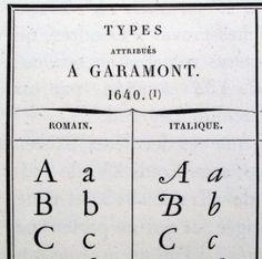 Tipos atribuidos a Garamond