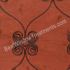 Pyn Scroll pattern in Terracotta and chocolate curtains from BestWindowTreatments.com -Copper and Rust tones