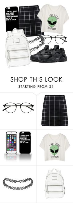 """611"" by laurie-hooope ❤ liked on Polyvore featuring Miss Selfridge, Marc by Marc Jacobs, NIKE, cute, nike, Psycho and aliens"
