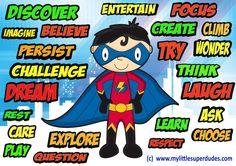 Encouraging Words for Positive Parenting 1 Superhero Classroom Theme, Classroom Themes, Superhero Preschool, Affirmations For Kids, Positive Affirmations, Kids Mental Health, Children Health, Behavior Incentives, Word Poster