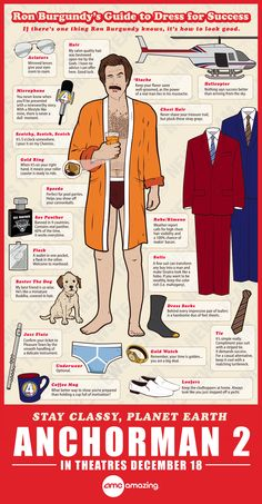 Ron Burgundy's Guide To Dress For Success - An ANCHORMAN 2: THE LEGEND CONTINUES Infographic
