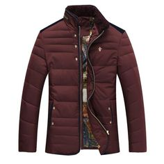 Warm Comfortable Stylish Men's Goose Down NEW 2016 Stand-Up Collar Winter Coat 4 Colors M-3XL