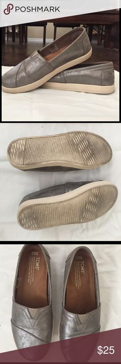 Toms Avalon Gunmetal Metallic  Slip-on shoe Trendy metallic comfy shoe! I wore it around the block once and determined not right fit because  it's wider than their linen/cloth fabric. Purchased directly from Tom's online last summer. TOMS Shoes Flats & Loafers