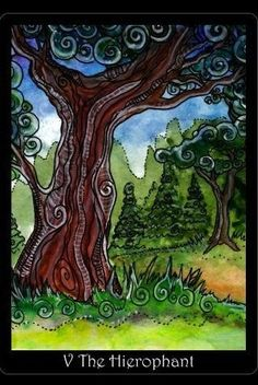 "Tarot of Trees-Hierophant    #ComfortMeTarot Hierophant- Same as yesterday. God looks out for me. A voice from the app said, ""Stay calm"" when I drew the card.    The Tarot of Trees is self published by Dana Driscoll.  The great app I used on my iPhone to draw this card is from The Fool's Dog.    www.tarotoftrees.com    www.foolsdog.comwww.foolsdog.com    www.twitter.com/78Whisper"