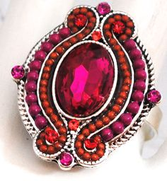 Oval Beaded Fuchsia Cocktail Ring / Under 15 by victoriascharms, $12.00