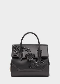 Versace Flower Appliques Palazzo Empire Bag for Women Luxury Purses, Luxury Bags, Luxury Handbags, Fendi, Gucci, Tote Handbags, Purses And Handbags, Calf Leather, Leather Bag