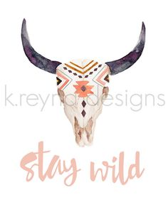 Printable Wall Art Stay Wild Wall Decor Cow Skull by kreynadesigns