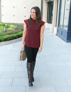 Fall Outfit | Striped Top | Brown Riding Boots | Lady in Violet Fashion Blog