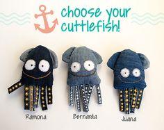 Cuttlefish toy, fish nursery decor, hand painted ocean animal