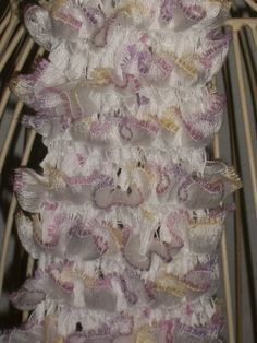OOAK Hand Knit Ruffled Scarf  White with Pastel by Shelly6262, $44.95