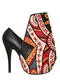 KTZ 115MM TAROT EMBROIDERED LEATHER PUMPS