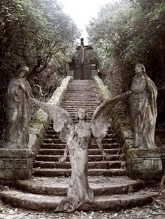 I LOVE old cemeteries, and statues. Cemetery Angels, Cemetery Statues, Cemetery Art, Angels Among Us, Angels And Demons, Statue Ange, Old Cemeteries, Graveyards, I Believe In Angels