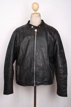 Vtg BRANDED By Orchard Leather Cafe Racer Motorcycle Jacket XLarge