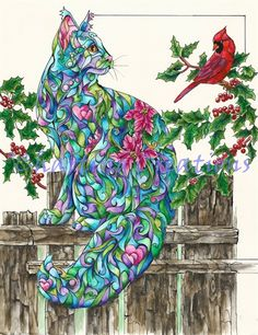 """Winter Cat """"Winter friends"""" CAT Print from Artist Sherry Shipley Winter Cat, Thing 1, Colorful Animals, Cat Colors, All Birds, Here Kitty Kitty, Christmas Cats, Illustrations, Beautiful Cats"""