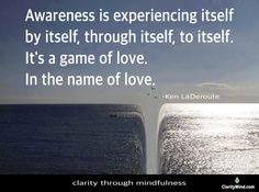 Awareness is experiencing itself by itself, through itself, to itself. It's a game of love. -Ken LaDeroute Please share if you agree. Mindfulness Training, Game Of Love, Names