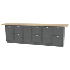 """WALL WORKBENCH - All welded construction. Overall size - 120""""l x 24""""d x 36.75""""h -12 Opening Padlocking Locker Base"""