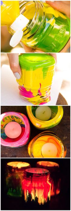 Mason Jar Tea Lights/ Moonfrye DIY/ Kids Crafts/ Kids Art Projects/ Kids Crafts Wright um how cool? Cute Crafts, Crafts To Do, Diy Crafts For Kids, Arts And Crafts, Paper Crafts, Rock Crafts, Mason Jar Crafts, Mason Jars, Crafty Kids