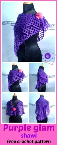 crochet purple glam shawl, crochet shawlette, crochet wrap, crochet shawl free pattern